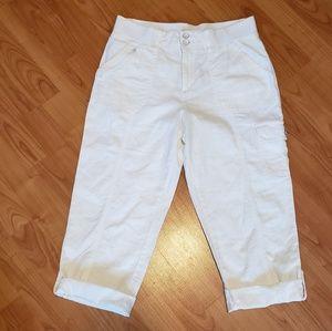 Cato linen blend white cargo capri pants